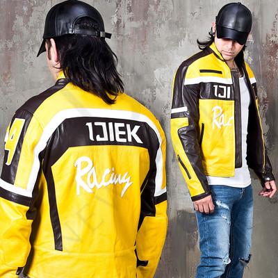 Brown & yellow contrast racer motorcycle leather jacket