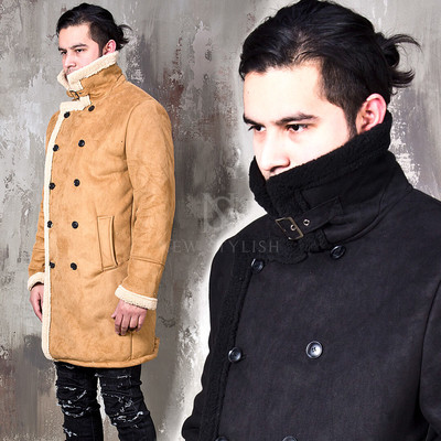 Shearing long suede jacket