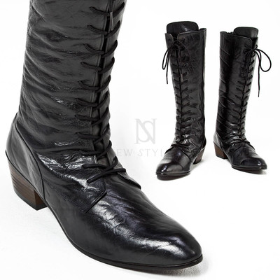 Distressed leather high heel lace-up long boots