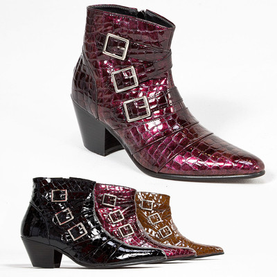 Snake pattern leather triple buckle high heel ankle boots