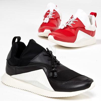Contrast bending sneakers
