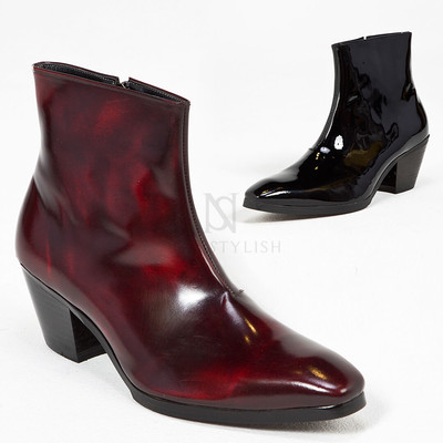 Plain leather high heel ankle boots