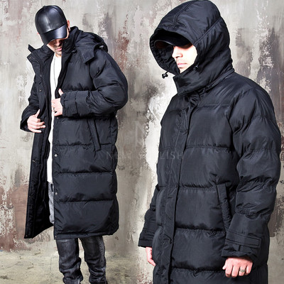 Snap button padded hooded duckdown long parka