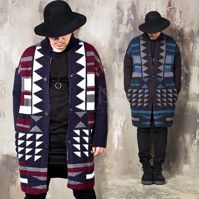 Indian sorcerer vibe patterned long knit cardigan