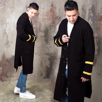 Side opening striped cuffs long knit cardigan