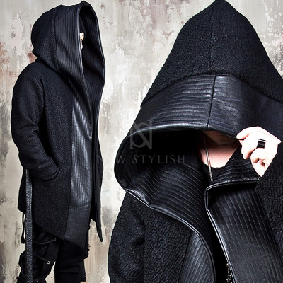 Asymmetric quilted big leather collar cape coat