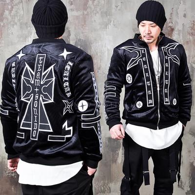 Unique emblem patchwork velour zip-up jacket