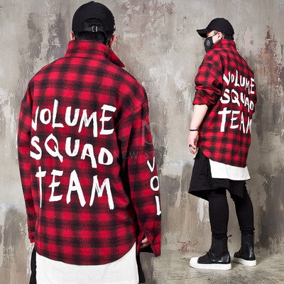 Cool lettering printed checkered loose shirts