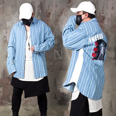 Cool back printed striped denim loose shirts