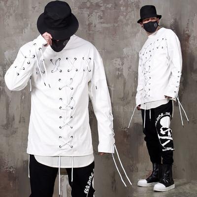 Multiple eyelet white leather shirts