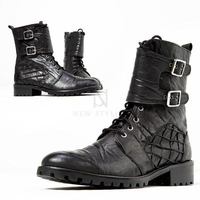 Elephant patterned leather biker boots