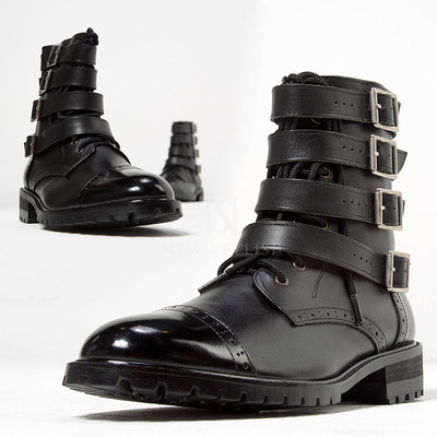 Quadruple belted lace-up straight-tip boots