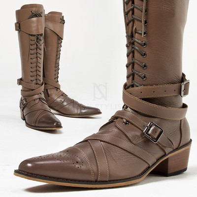 Wrap belted lace-up straight tip brown long boots