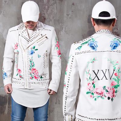 Flower printed studded leather rider jacket