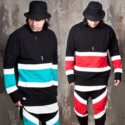 Contrast striped sweatshirts