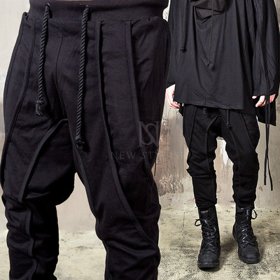Multiple hemlined rope baggy sweatpants