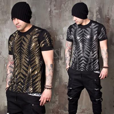 Sparkling beads tiger line slim t-shirts