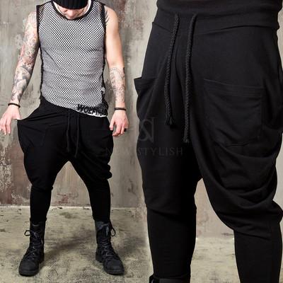 Black batwing shirring baggy pants