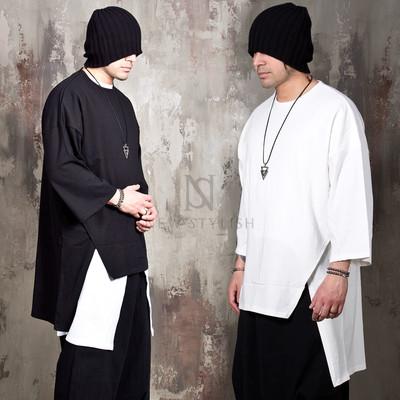 Avant-garde unbalanced side opening t-shirts