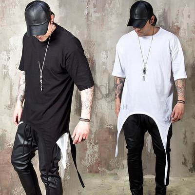 Long zippered sleeves round hem t-shirts