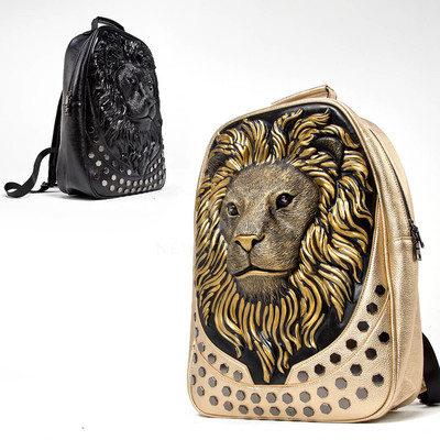 3D lion head leather backpack
