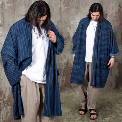Oriental vibe striped boxy coat - 167