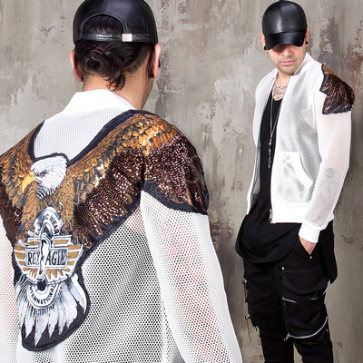 Spangle eagle white mesh bomber jacket