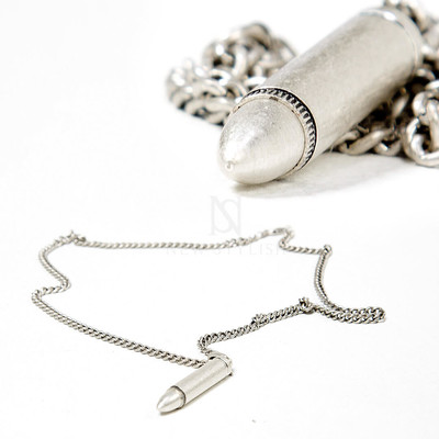 Distressed silver bullet pendant chain necklace