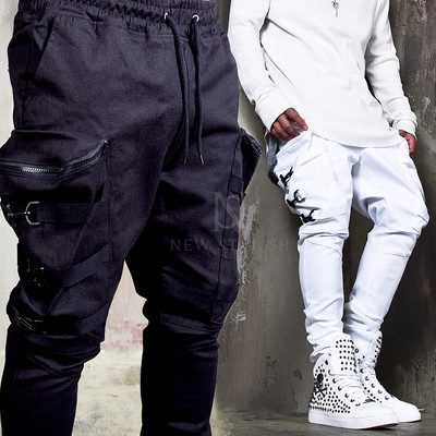 6 webbing strap belted big pocket banding pants