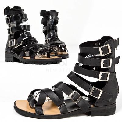 Multiple buckle modern gladiator flip-flop sandals