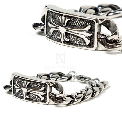 Engraved cross charm surgical steel bracelet