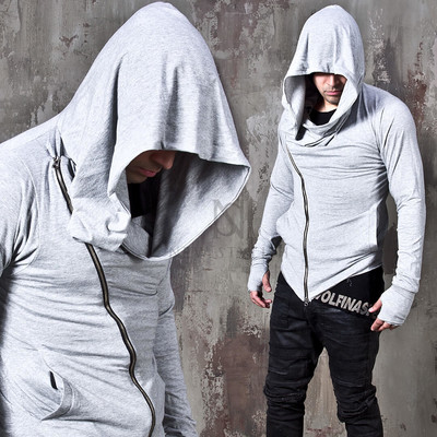 Arm Warmer Diagonal Zip-up Hoodie