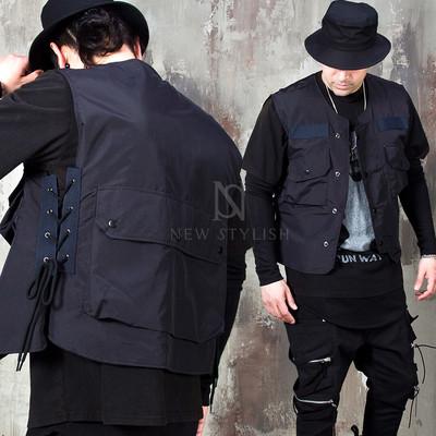 Multiple pockets eyelet techwear vest