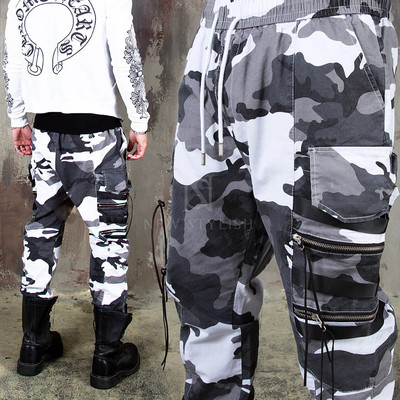 Camouflage zipper cargo jogger pants