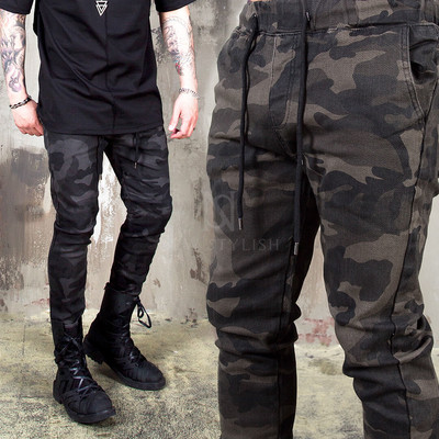 Camouflage slim fit banding pants - 245