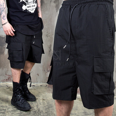 Washed black cargo banding shorts