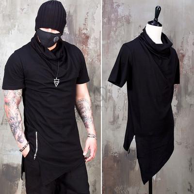 Asymmetric cut zipper turtle neck t-shirts - 967