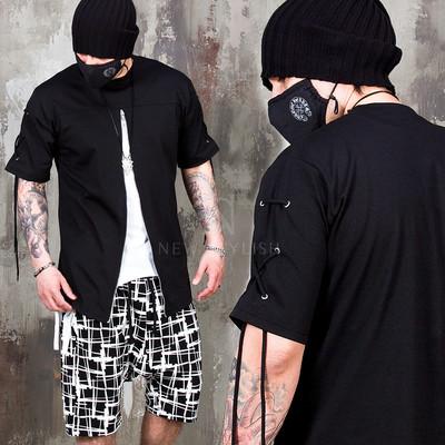 Eyelet short sleeves long zipper t-shirts - 969