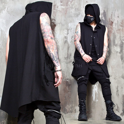 Asymmetric rope strap hooded vest