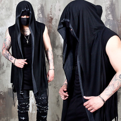Contrast mesh layered hooded long vest