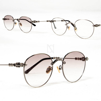 Engraved metal frame accent round glasses - 07