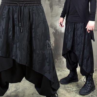 Avant-garde drape harem baggy banding pants 253