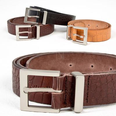 Crocodile patterned cow leather belt