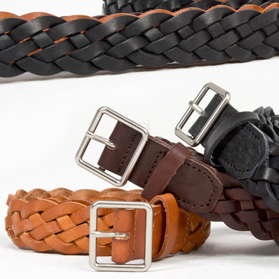 Braided cow leather belt