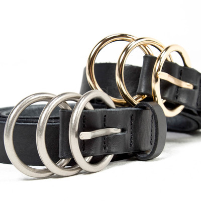 Triple ring cow leather belt