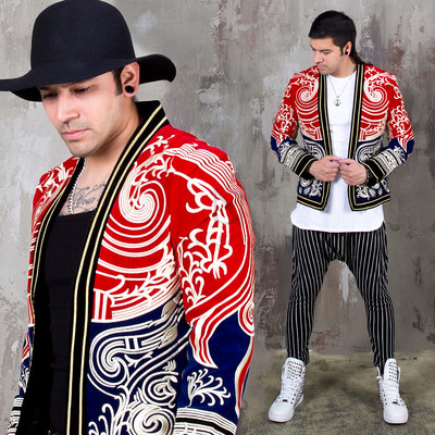 Oriental embroidery patterned velvet blazer