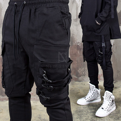 Triple webbing belted pocket banding pants