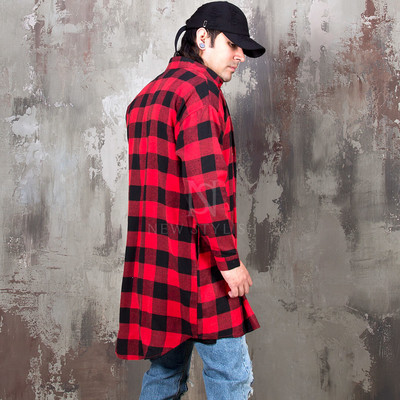 Checkered round hem long button-up shirts