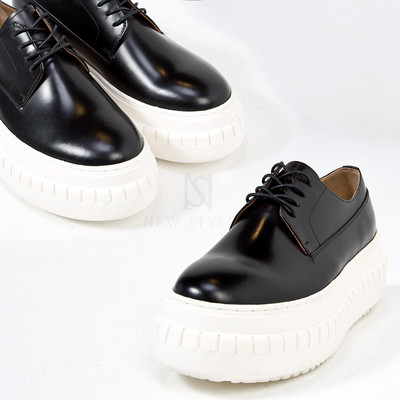 Contrast thick sole lace-up shoes - 458