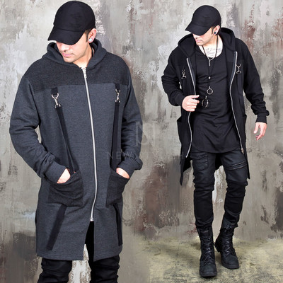 Double D-ring Strap long zip-up hoodie